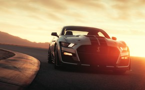 Picture road, machine, asphalt, the sun, light, strips, style, lights, Ford, turn, sports, sports car, Ford …