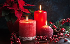 Picture leaves, fire, holiday, plant, candles, Christmas, red, New year, twilight, Rowan, pine branches