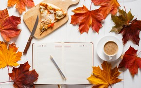 Picture autumn, leaves, background, colorful, maple, wood, autumn, leaves, pizza, cup, book, coffee, a Cup of …