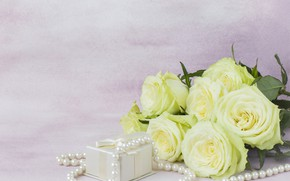 Picture gift, roses, bouquet, beads, white