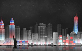 Wallpaper The sky, Minimalism, Night, The city, Art, New York, Digital, Illustration, New-York City, Game Art, ...