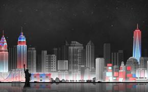 Picture The sky, Minimalism, Night, The city, Art, New York, Digital, Illustration, New-York City, Game Art, ...