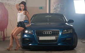 Picture auto, look, Audi, Girls, garage, beautiful girl, posing on the car