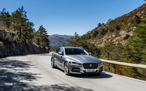 Picture road, mountains, Jaguar, sedan, four-door, 2020, gray-silver, Jaguar XE