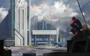 Picture auto, fiction, spider-man, hamburger, eating, Peter Parker