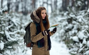 Picture winter, girl, snow, trees, nature, map, portrait, makeup, scarf, hairstyle, hood, gloves, brown hair, is, …