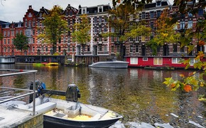Picture Amsterdam, Netherlands, Holland, water channel