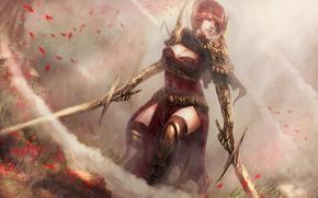 Picture girl, weapons, warrior, swords