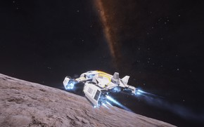Picture space, planet, the milky way, the surface of the planet, spaceship, spaceship, Elite: Dangerous