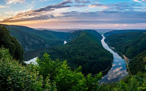 Picture forest, the sky, nature, river, view, Germany