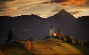 Picture autumn, trees, landscape, mountains, nature, hills, village, morning, Church, meadows, Slovenia, Yamnik, Georgi Mitev