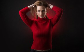 Picture look, girl, pose, hair, sweater