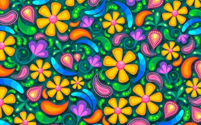 Picture flowers, background, patterns, graphics, texture, digital art