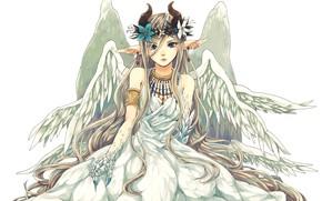 Picture girl, fantasy, horns, dress, anime, wings, blue eyes, Angel, artwork, fantasy art, white dress, fantasy …