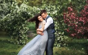 Picture girl, nature, the wind, garden, hugs, pair, male, lovers, beautiful, Anastasia Barmina