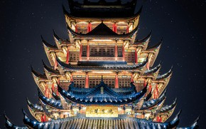 Picture China, backlight, pagoda, the night sky, Chinese architecture, Chuncin