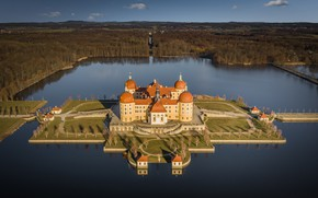 Picture forest, lake, castle, island, Germany, Germany, Saxony, Moritzburg, Saxony, Moritzburg Castle, Moritzburg Castle, Moritzburg