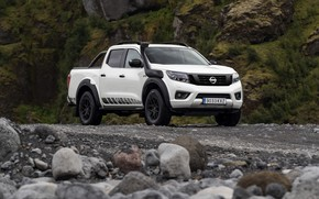 Picture white, stones, Nissan, pickup, Navara, 2020, Off Roader AT32