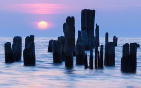 Picture sea, sunset, руины пирса