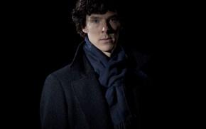 Picture Sherlock Holmes, black background, Benedict Cumberbatch, Sherlock, Sherlock, Sherlock BBC, Sherlock (TV series)