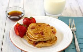Picture glass, berries, Breakfast, milk, strawberry, plate, plug, honey, pancakes, wood, pancakes