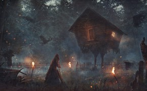 Picture forest, house, Baba Yaga, Hut on chicken legs
