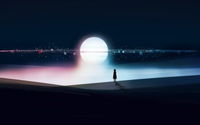 Picture night, the moon, fantasy, girl