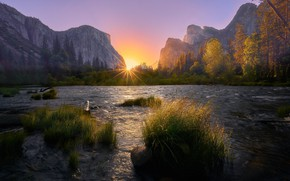 Picture autumn, the sky, grass, the sun, rays, light, trees, sunset, mountains, nature, dawn, Yosemite, pond, …