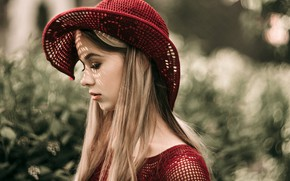 Picture glare, background, model, portrait, hat, makeup, hairstyle, blonde, profile, in red, bokeh, Kirill Sokolov