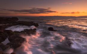 Picture sea, wave, sunset, stones, shore