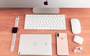 Picture computer, apple, headphones, phone, tablet