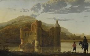 Picture landscape, picture, The Albert Cuyp, Aelbert Cuyp, Castle Ubbergen