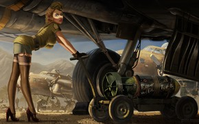Wallpaper Girl, Figure, The plane, Art, Art, Download, Bomb, Sissy, Eddie Bennun, by Eddie Bennun, From ...