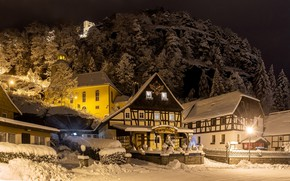 Picture winter, road, snow, trees, night, lights, street, mountain, home, Germany, lights, Oybin
