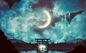 Picture water, night, people, fantasy, corridor, Crescent, torii