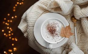 Picture sheet, heat, coffee, spoon, Cup, cappuccino, bokeh