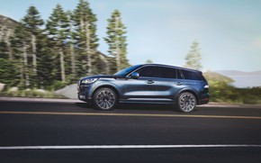 Picture road, Lincoln, speed, side view, Aviator, 2020