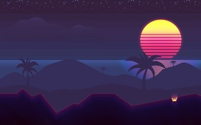 Wallpaper The sun, Music, Palm trees, Background, 80s, Neon, 80's, Synth, Retrowave, Synthwave, New Retro Wave, ...