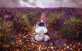 Picture girl, flowers, style, fantasy, blonde, lies, image, lavender, photoart, lavender field, Kindra Nikole