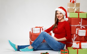 Picture girl, pose, smile, background, mood, holiday, hat, sneakers, jeans, makeup, Christmas, hairstyle, gifts, New year, …