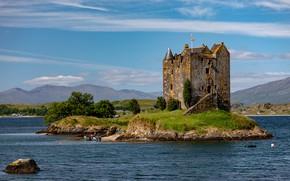 Picture summer, clouds, mountains, blue, stones, people, castle, hills, shore, vegetation, Scotland, haze, architecture, island, pond, …