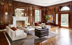 Picture Villa, interior, fireplace, living room, New Jersey, mansion, Selldorf
