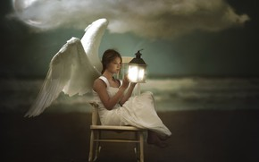 Picture girl, lamp, angel