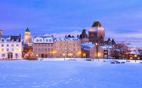 Picture winter, snow, home, Canada, QC, Chateau Frontenac, улица Сен-Дени