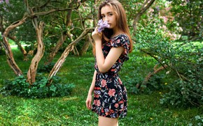 Picture greens, grass, look, trees, flowers, pose, model, portrait, makeup, figure, dress, hairstyle, brown hair, beauty, …