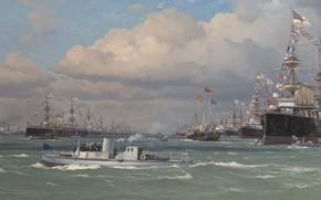 Picture sea, oil, ships, Eduardo De Martino, Эдоардо де Мартино, The Naval Review at Spithead