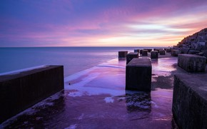 Picture Sunset, Water, Sea, Shore, Stone, Blocks, Plate