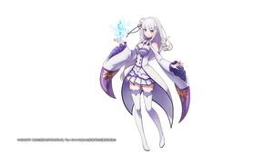 Picture white background, ice crystals, white stockings, Emilia, Puck, Emilia (Re: Zero), Re Zero Kara Hajime …