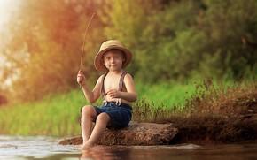 Picture summer, nature, river, stone, fishing, fisherman, boy, child, Ekaterina Borisova