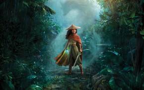 Picture pose, weapons, rain, jungle, illustration, Райя, Райя и последний дракон, Raya and the Last Dragon